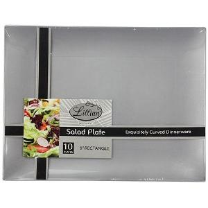 "Silver 9"" Rectangular Plastic Salad Plates (Case Qty: 120)"