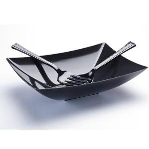 Black 64oz Rectangular Plastic Serving Bowl (Case Qty: 50)