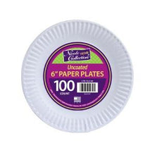 "6"" Uncoated Paper Plates 100 Count (Case Qty: 1000)"
