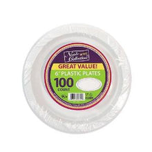 "6"" White Plastic Plates Bulk Pack 100 Count (Case Qty: 800)"