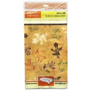 "54"" X 96"" Leaves Rectangular Plastic Tablecover 72 Count (Case Qty: 72)"