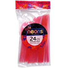 Neon Pink Plastic Combo Cutlery 24 Count (Case Qty: 864)