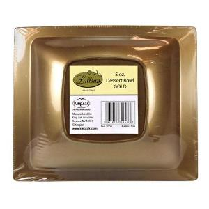 Gold 5oz Rectangular Plastic Dessert Bowls (Case Qty: 120)