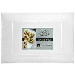 "Clear 9"" x 13"" Rectangular Plastic Tray - 3 Pack (Case Qty: 72)"