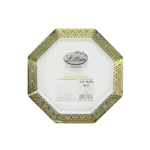 "Lacetagon - 7.25"" Pearl Plate - Gold Rim - 10 Count (Case Qty: 120)"
