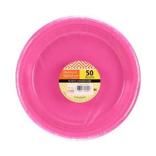 "9"" Plastic Plate - Hot Pink - 50 Count (Case Qty: 600)"