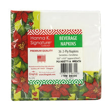 Poinsettia Wreath - Beverage Napkin - 36 Count (Qty: 1296)