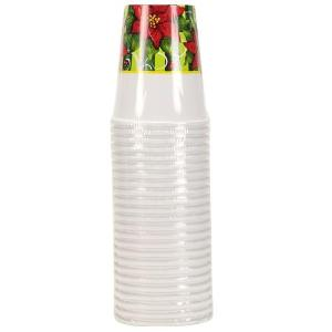Poinsettia Wreath - 9 oz. Cups - 24 Count (Case Qty: 864)