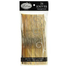 Polished Gold Plastic Cutlery - Knives - 24 Count (Case Qty: 576)