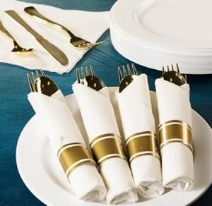 Cutlery - Polished Gold - Pre-Rolled Cutlery - Acetate Box (Case Qty: 60)