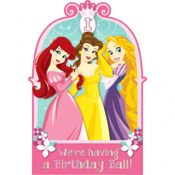 Disney© Princess 1st Birthday Invitations Cards (16 in a package)