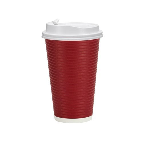 Ripple Hot Cup with Lid - Maroon - 30 count