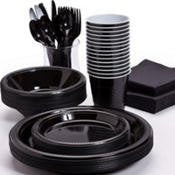 Pans Pro Tableware 48 Serving Party Set, Forks, Spoons, Knives, Plates, Bowls, Cups, Napkins, Tablecovers (Black)