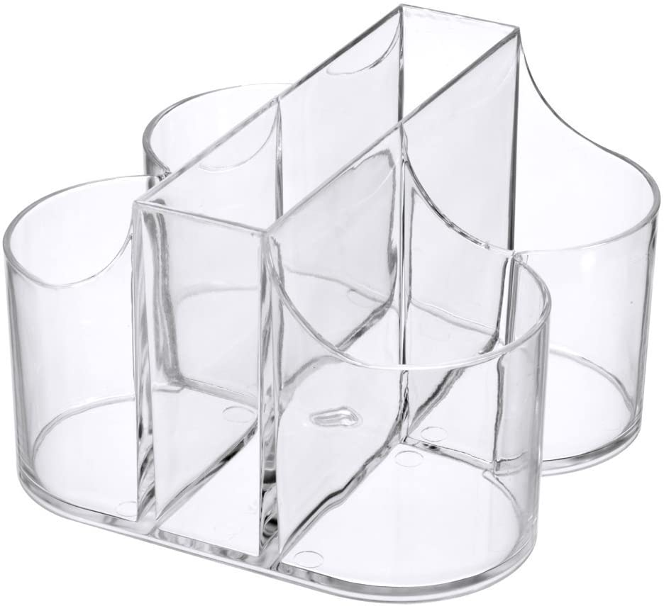 Lillian Tablesettings Cutlery Caddy Organizer 5 Compartment - Silverware Organizer & Napkin Holder - Clear (6 Pack )