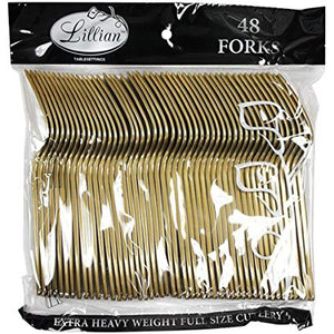 48-Pack Plastic Forks Cutlery Bag, Gold (Pack of 3 total of 144 forks)