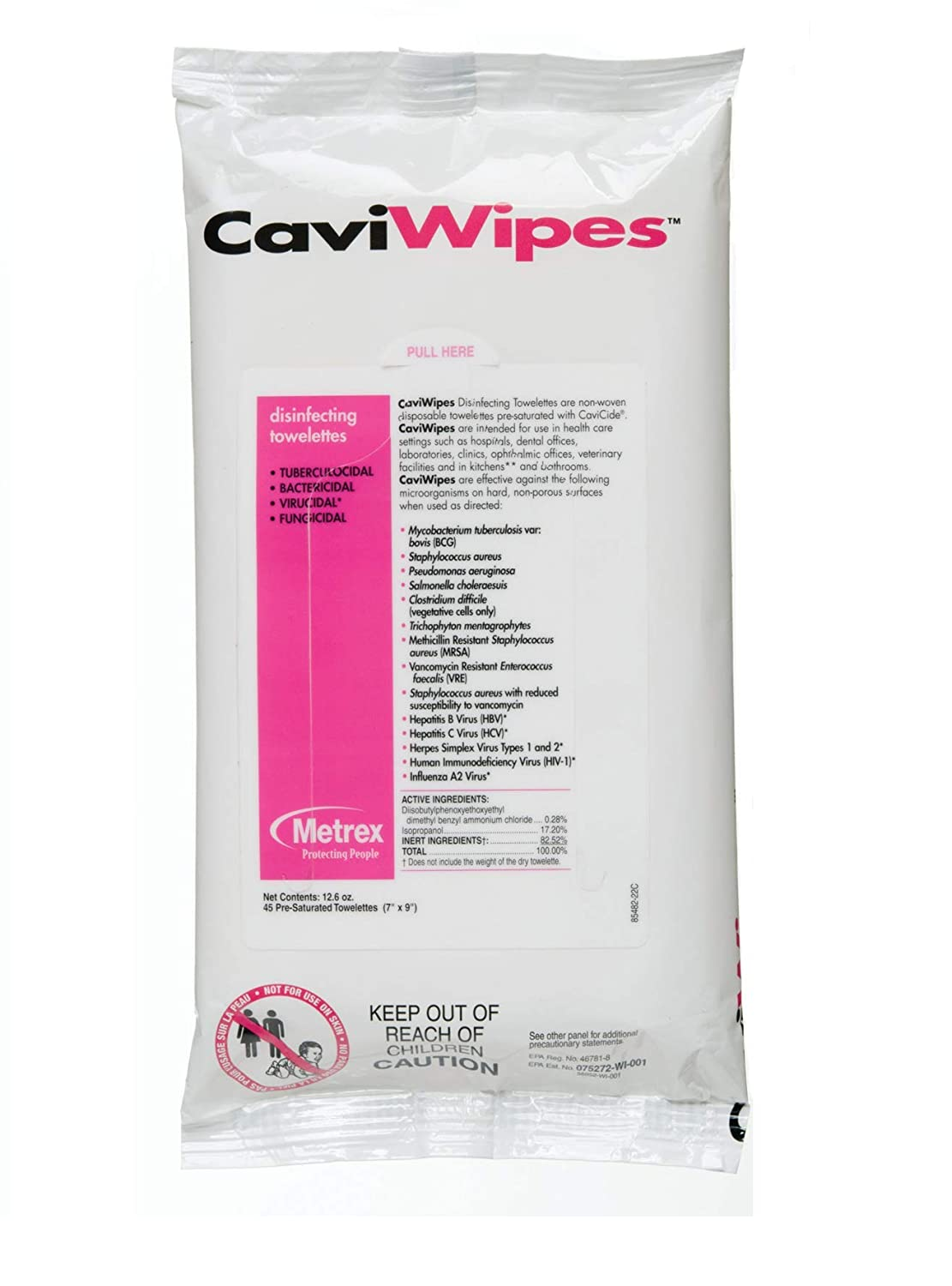 Metrex 13-1224 CaviWipes Surface Disinfectant Towelette Wipe, 7