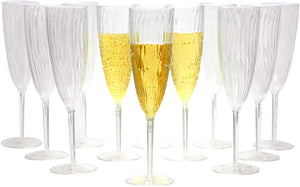 Premium Champagne Flutes 6 oz. Clear Hard Plastic Disposable Glasses, Value Box Set - 96 Count