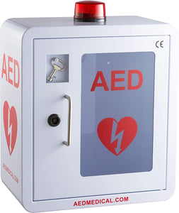Stainless Steel AED Cabinet | 14 x 8 x 15.5 Inch  | With Emergency Strobe Light, Door-Activated Alarm & Key