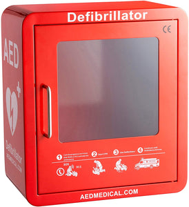 Stainless Steel AED Cabinet | 14 x 8 x 15.5 Inch Wall Mount Storage Cabinet for Defibrillators | Compact AED Surface Mount Cabinet