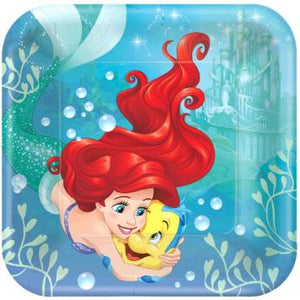 "Disney Ariel Dream Big Square Plates, 9"" (16 in a package)"