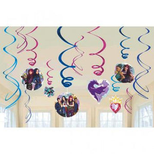 Disney Descendants 2 Value Pack Foil Swirl Decorations (24 in a package)