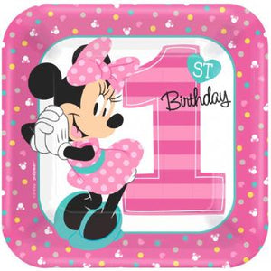 "Disney Minnie's Fun To Be One Square Plates, 7"" (16 in a package)"