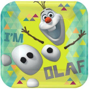 "Disney Olaf 9"" Square Plates (16 in a package)"