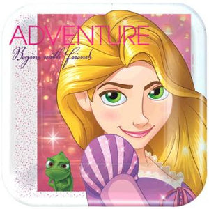 "Disney Rapunzel Dream Big Square Plates, 7"" (16 in a package)"