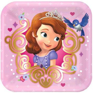"Disney Sofia The First Square Plates, 7"" (16 in a package)"