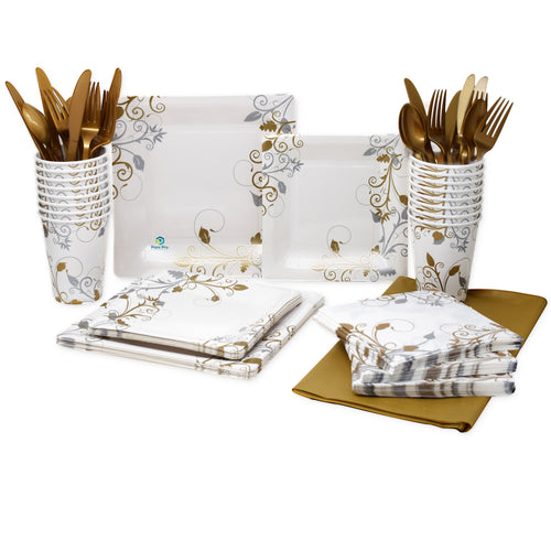 24 Serving Party Set,  (Swirls & Pearls)