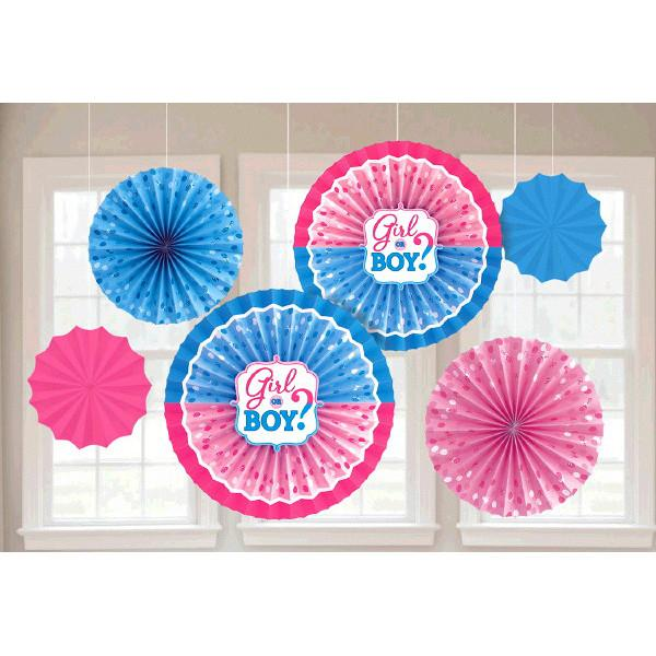 Girl or Boy? Paper Fan Decorations (6 in a package)
