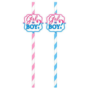 Girl or Boy? Paper Straws (24 in a package)