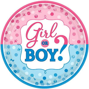 "Girl or Boy? Round Plates, 10 1/2"" (16 in a package)"
