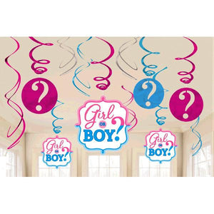 Girl or Boy? Value Pack Foil Swirl Decorations (12 in a package)