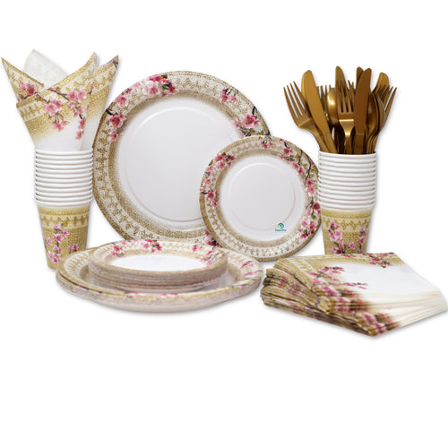 32 Serving Paper Party Set, Forks, Spoons, Knives, Plates, , Cups, Napkins, Tablecovers