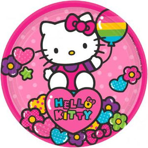 "Hello Kitty Rainbow 7"" Round Plates (16 in a package)"
