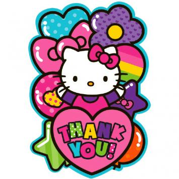 Hello Kitty Rainbow Postcard Thank You Cards (16 in a package)