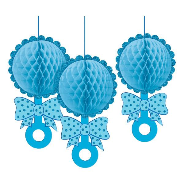Honeycomb Rattle Hanging Decorations w/Glitter - Boy (6 in a package)