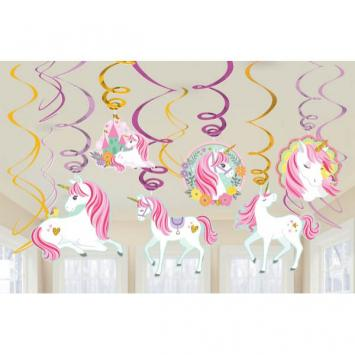 Magical Unicorn Value Pack Foil Swirl Decorations (12 in a package)