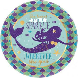 "Mermaid Wishes Metallic Round Plates, 7"" (16 in a package)"