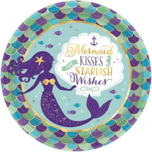 "Mermaid Wishes Metallic Round Plates, 9"" (16 in a package)"