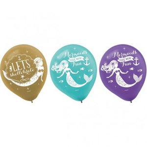 Mermaid Wishes Printed Latex Balloons (12 in a package)
