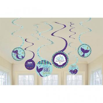 Mermaid Wishes Spiral Decorations (16 in a package)