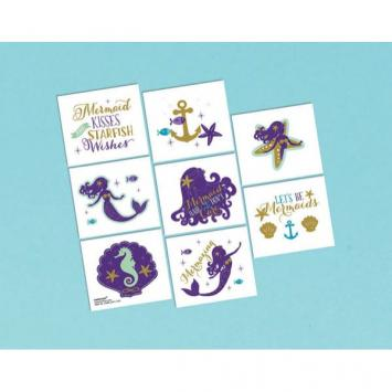 Mermaid Wishes Tattoos (16 in a package)
