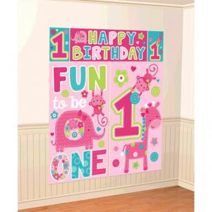 One Wild Girl Scene Setters Wall Decorating Kit (5 in a package)