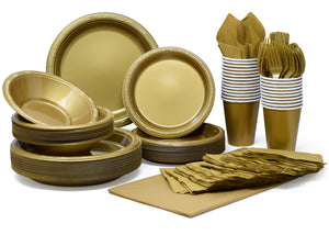 Pans Pro Tableware 48 Serving Party Set, Forks, Spoons, Knives, Plates, Bowls, Cups, Napkins, Tablecovers Gold