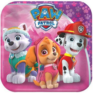 "Paw Patrol Girl Square Plates, 7"" (16 in a package)"