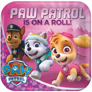 "Paw Patrol Girl Square Plates, 9"" (16 in a package)"