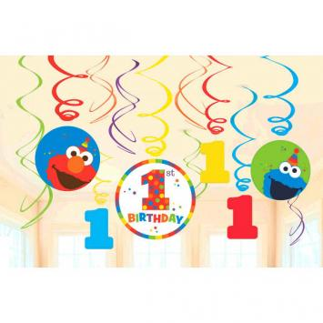 Sesame Street Elmo Turns One Value Pack Plastic Swirl Decorations (24 in a package)