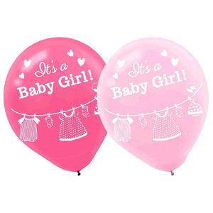 Shower with Love Girl Latex Balloons (15 in a package)